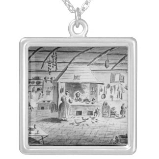 View of an Italian kitchen at Lerici Silver Plated Necklace