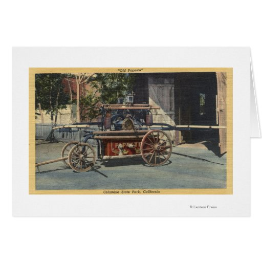 """View of an """"Old Papeete"""" Engine Greeting Card"""