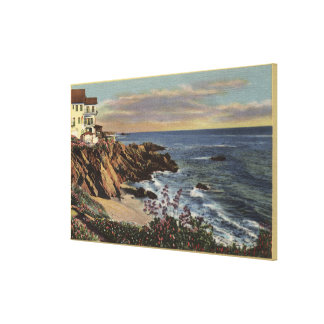 View of Arch Beach with Flowers Gallery Wrapped Canvas
