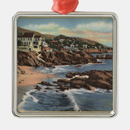 View of Arch Beach with Homes Metal Ornament