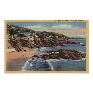 View of Arch Beach with Homes Poster