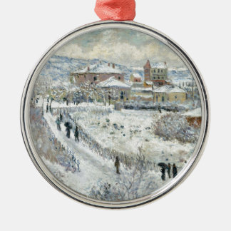 View of Argenteuil in the Snow by Claude Monet Round Metal Christmas Ornament