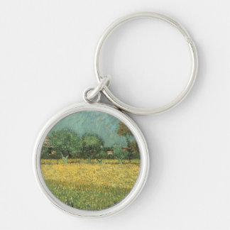 View of Arles with Irises by Vincent Van Gogh Silver-Colored Round Keychain