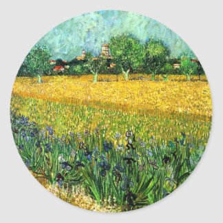 View of Arles with Irises in the Foreground Classic Round Sticker