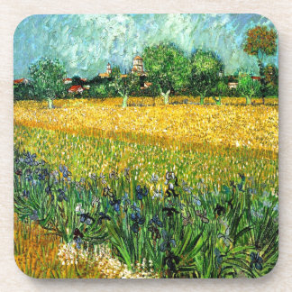 View of Arles with Irises in the Foreground Beverage Coasters