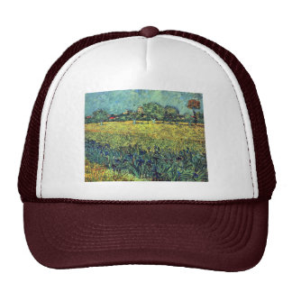 View Of Arles With Irises In The Foreground Hat