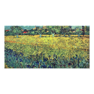 View Of Arles With Irises In The Foreground, Photo Greeting Card