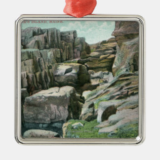View of Ascending Giant Rock Steps in Rockface Metal Ornament