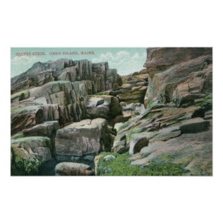 View of Ascending Giant Rock Steps in Rockface Print