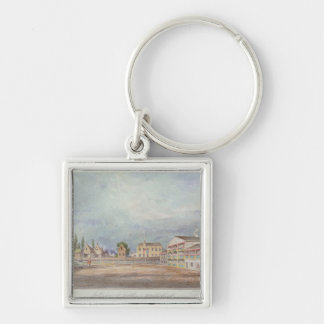 View of Astley's Amphitheatre, 1777 Silver-Colored Square Keychain