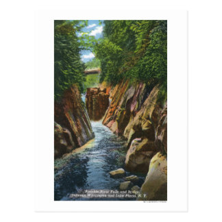 View of Ausable River Falls and Bridge Post Card