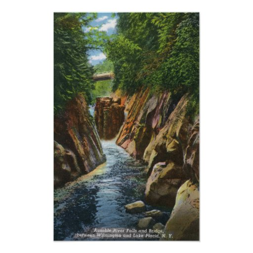 View of Ausable River Falls and Bridge Print