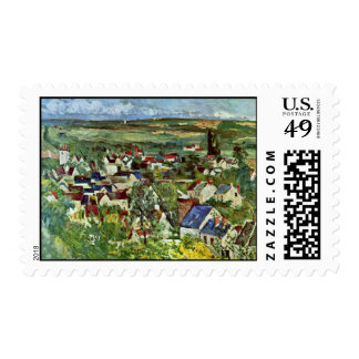 View Of Auvers By Paul Cézanne (Best Quality) Postage Stamp