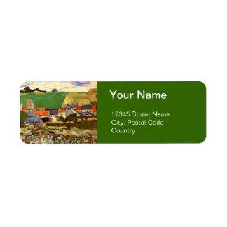 View of Auvers Vincent van Gogh. Label