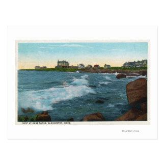 View of Bass Rocks Surf Postcard