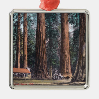 View of Big Trees in Mariposa Grove Square Metal Christmas Ornament