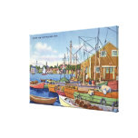 View of Boats in the Harbor Stretched Canvas Prints