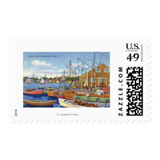 View of Boats in the Harbor Postage
