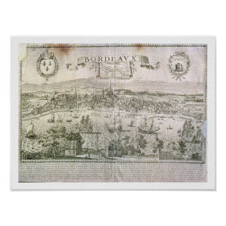 View of Bordeaux and the river Garonne, signed by Poster