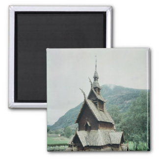 View of Borgund stave church, c.1150 2 Inch Square Magnet