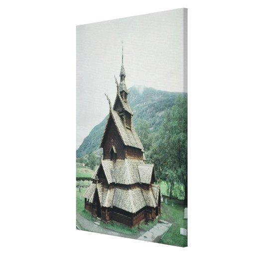 View of Borgund stave church, c.1150 Canvas Print