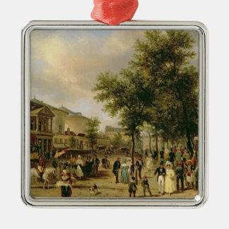 View of Boulevard Montmartre, Paris, 1830 Square Metal Christmas Ornament