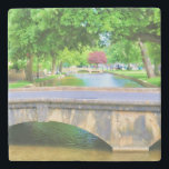 """View of Bourton on the Water Stone Coaster<br><div class=""""desc"""">A scenic view of Bourton on the Water in Gloucestershire,  UK. Digital painting from my original photo.</div>"""