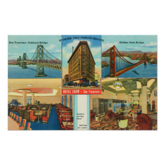 View of Bridges, Interior Scenes of Hotel Shaw Poster