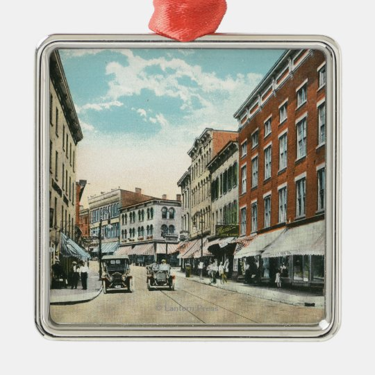 View of Broadway and Corner Strand Street Metal Ornament