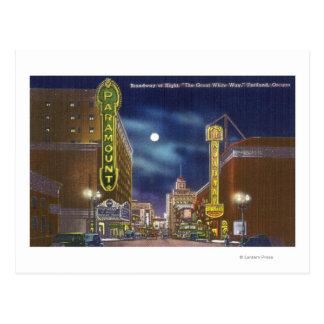 View of Broadway at Night Postcard