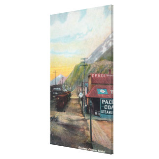 View of Broadway & Railroad CarsSkagway, AK Stretched Canvas Print