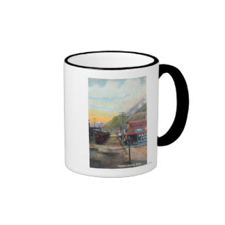 View of Broadway & Railroad CarsSkagway, AK Mug