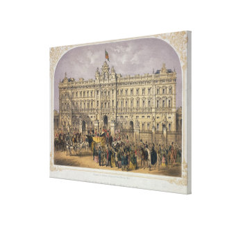 View of Buckingham Palace with a Crowd Outside Canvas Print