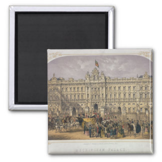 View of Buckingham Palace with a Crowd Outside Magnet