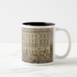 View of Buckingham Palace with a Crowd Outside Two-Tone Coffee Mug
