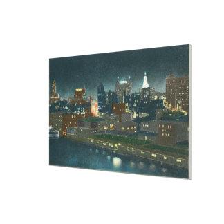 View of Buffalo Skyline at Night Canvas Print