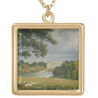 View of Burghley House, seat of the Marquis of Exe Gold Plated Necklace