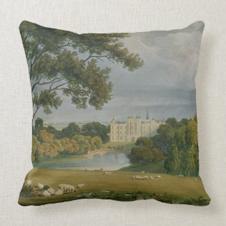 View of Burghley House, seat of the Marquis of Exe Throw Pillow