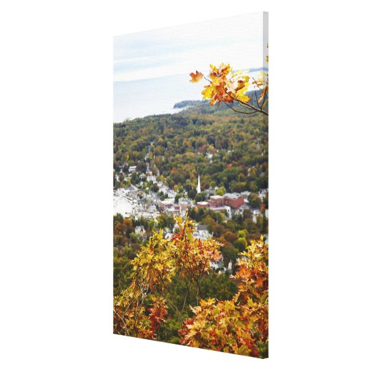 View of Camden Hills State through Fall Trees Canvas Print