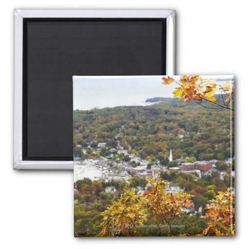 View of Camden Hills State through Fall Trees 2 Inch Square Magnet