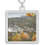 View of Camden Hills State through Fall Trees Square Pendant Necklace