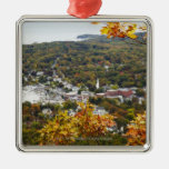 View of Camden Hills State through Fall Trees Square Metal Christmas Ornament