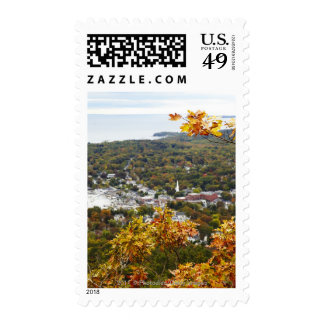 View of Camden Hills State through Fall Trees Postage Stamps