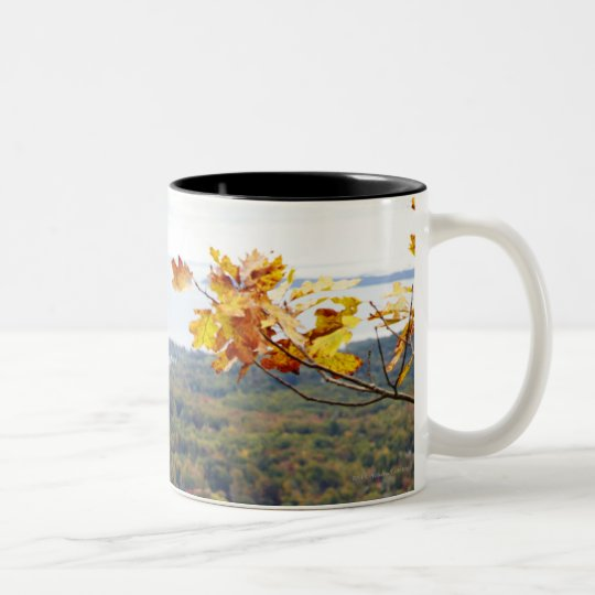 View of Camden Hills State through Fall Trees Two-Tone Coffee Mug