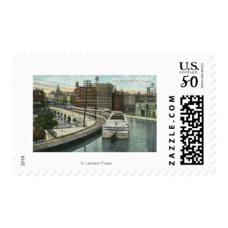 View of Canal Boats going over the Aqueduct Postage
