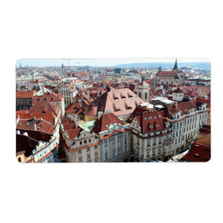 View of capital city of Prague in Czech Republic Label