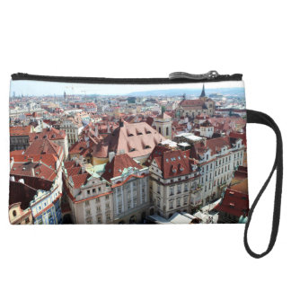 View of capital city of Prague in Czech Republic Suede Wristlet