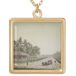 View of Capitol Hill, Washington (colour engraving Gold Plated Necklace