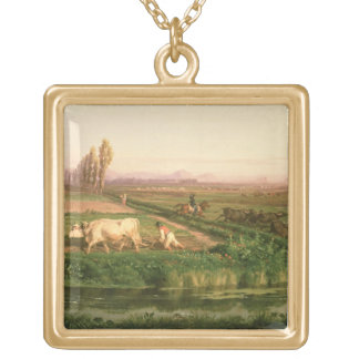View of Carditello (oil on canvas) Gold Plated Necklace