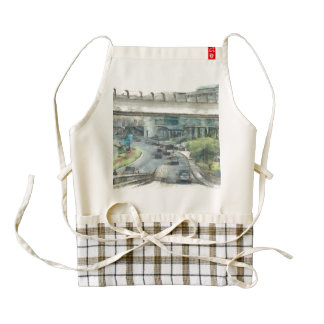 View of cars and traffic in Dubai Zazzle HEART Apron